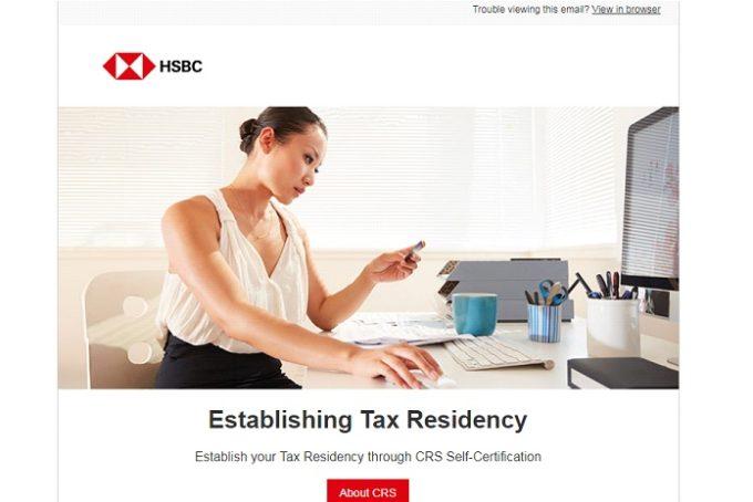 香港HSBCネットバンキングでEstablishing Tax Residency(CRS)の登録方法